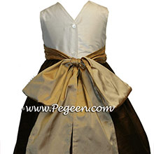 Chocolate brown and camel Flower Girl Dresses
