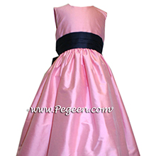 bubblegum pink and navy silk  flower girl dresses
