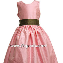 SEMI-SWEET CHOCOLATE BROWN AND BUBBLEGUM PINK FLOWER GIRL DRESSSES