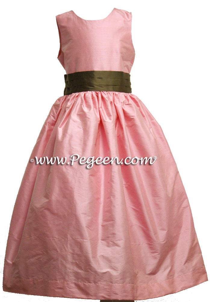 SEMI-SWEET AND BUBBLEGUM  AND IVORY SILK ORGANZA FLOWER GIRL DRESSES