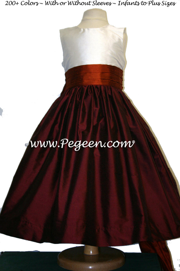 Burgundy And Mt Fall Copper Flower Girl Dresses For