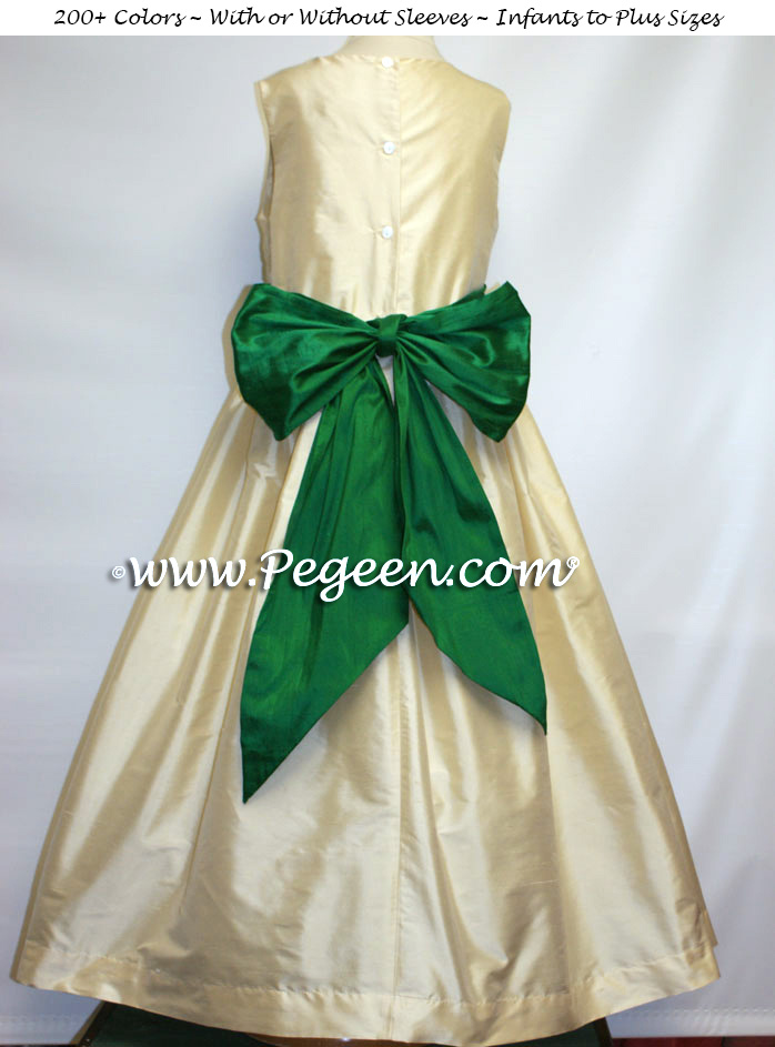 BUTTERCREME AND EMERALD SILK CUSTOM FLOWER GIRL DRESSES