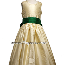 BUTTERCREME AND EMERALD SILK CUSTOM Flower Girl Dresses