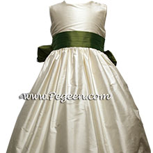 Buttercreme and Olive greenSILK Flower Girl Dresses