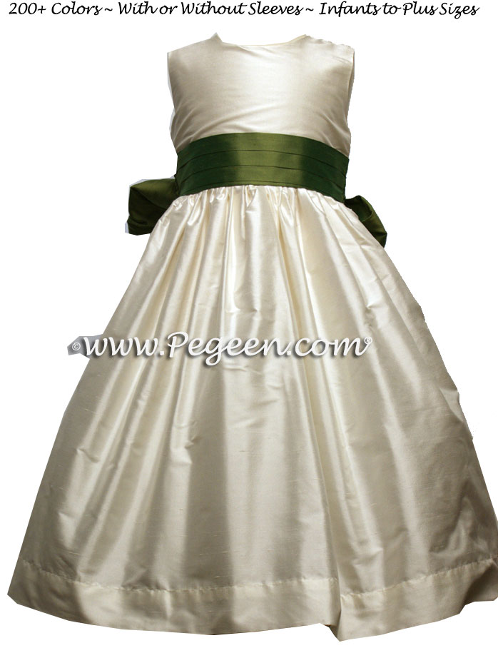 Buttercreme and Olive green silk Flower Girl Dresses by Pegeen