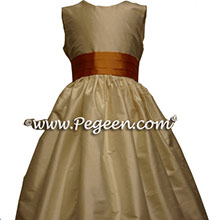 MANGO ORANGE AND CHOCOLATE BROWN flower girl dresses