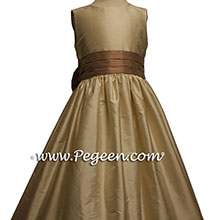 Bisque and Antigua Taupe flower girl dresses