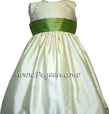 IVORY AND VINE GREEN Flower Girl Dresses