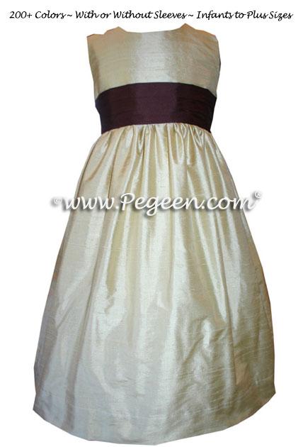 burgundy sash on a  FLOWER GIRL DRESSES
