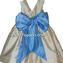Buttercreme and sky blue toddler Silk  flower girl dresses