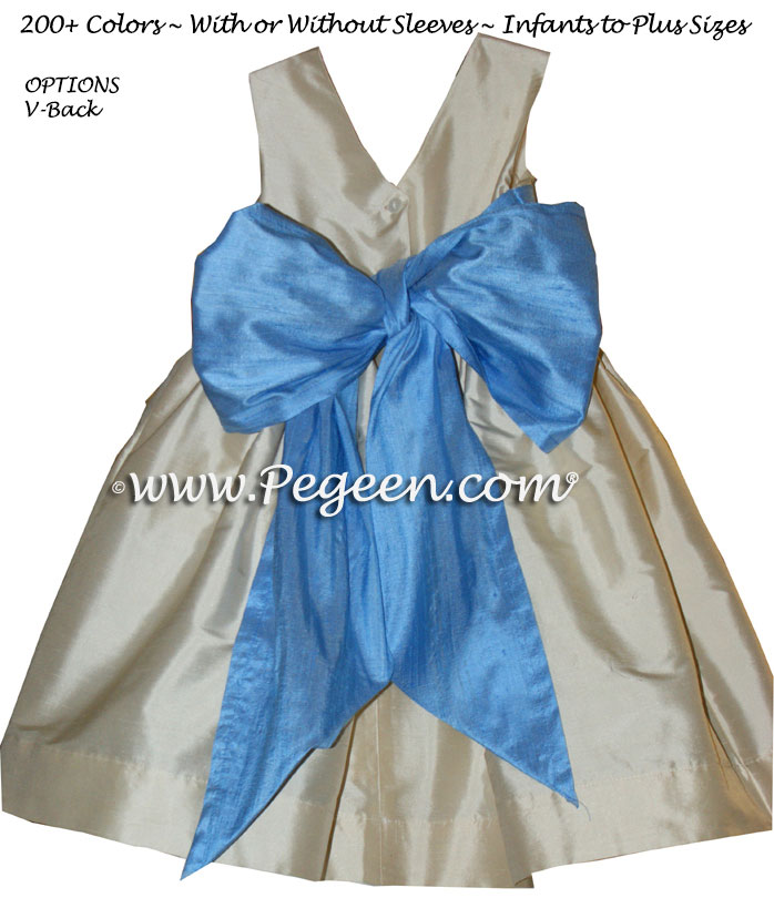 Buttercreme and SKY BLUE CUSTOM FLOWER GIRL DRESSES