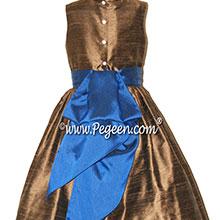 walnut brown and indigo blue silk flower girl dresses