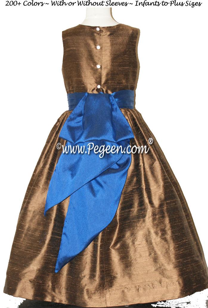 Walnut and Sapphire Blue SILK FLOWER GIRL DRESSES