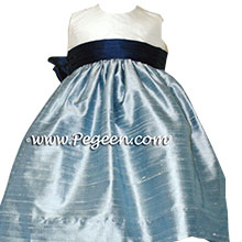 MARINE BLUE and Caribbean Blue Flower Girl Dresses - MARINE BLUE and Caribbean Blue Flower Girl Dresses - PEGEEN
