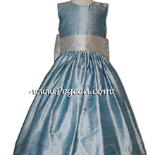 Caribbean and Platinim Gray Jim Hjelm Matching Flower Girl Dresses by PEGEEN