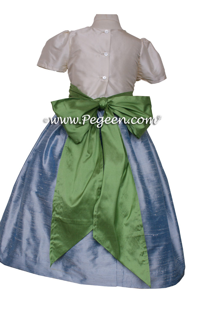 Jim Hjelm Matching FLOWER GIRL DRESSES in Caribbean Blue and Vine Green