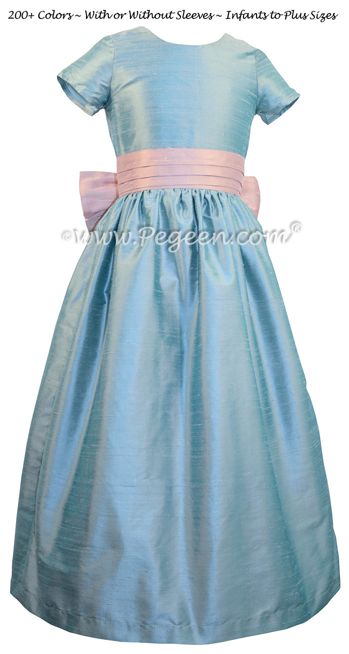 Caribbean Blue and Rose Pink Flower Girl Dresses Pegeen Classic Style 398