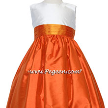 Carrot Orange, New Ivory and Tangerine Flower Girl Dresses Style 398