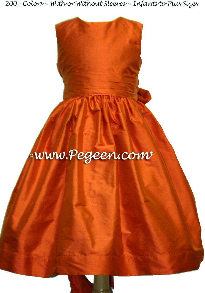 carrot orange and squash flower girl dresses