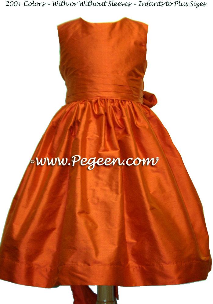 Squash (orange) and squash flower girl dresses