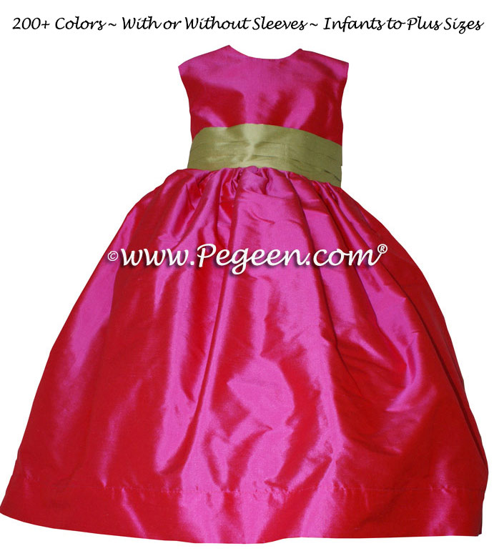 Cerise Pink and Citrus Green flower girl dress or junior bridesmaid dress style 383 by Pegeen