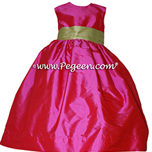 Cerise Hot Pink and Citrus Green flower girl dress style 383 by Pegeen