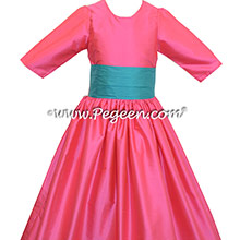OCEANIC and CERISE PINK Silk flower girl dress style