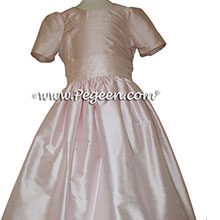 Champagne Pink silk flower girl dresses in silk style 398 by Pegeen