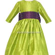 Chartruse Green and Plum Flower Girl Dresses in silk style 398