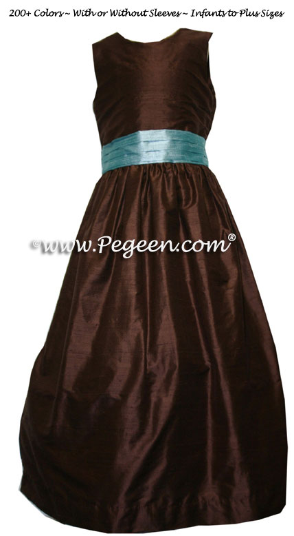 Adriatic Blue and Chocolate Brown Flower Girl Dresses