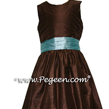 chocolate brown and adriatic tiffany flower girl dresses