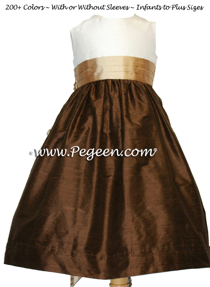Chocolate brown and camel silk flower girl dresses