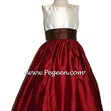 Chocolate Cranberry and  Ivory Flower girl dresses