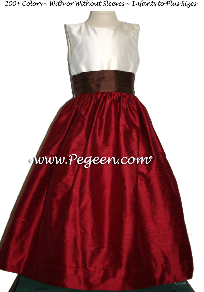 Flower Girl Dresses Style 398 in Cranberry Red and Chocolate | Pegeen