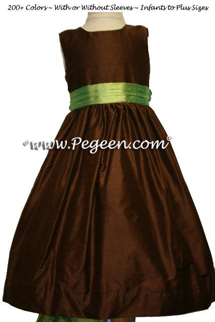 chocolate brown and lime green silk junior bridesmaids dress