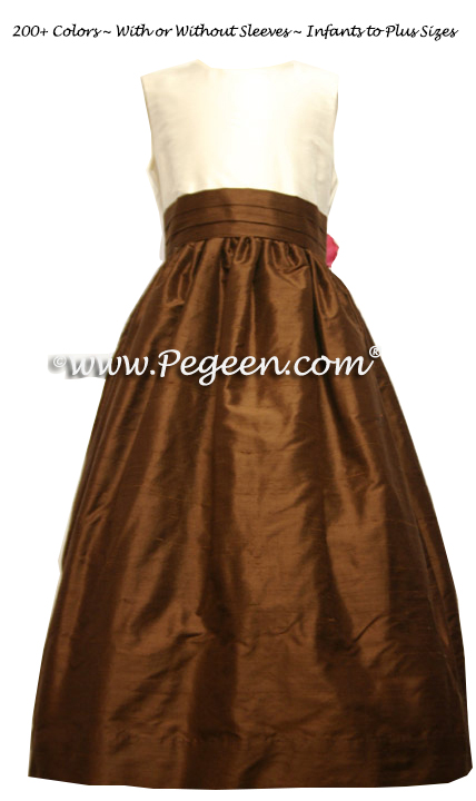 Flower girl dresses for your wedding party Chocolate and New ivory Silk | Pegeen
