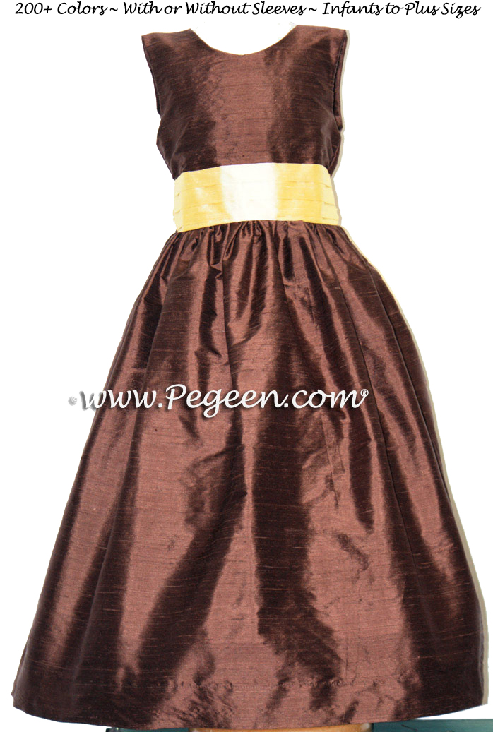 BROWN AND YELLOW SILK FLOWER GIRL DRESSES