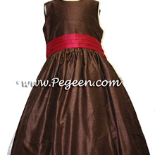 chocolate brown and cranberry flower girl dress