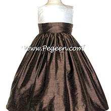 New Ivory and Chocolate Brown Silk Flower Girl Dresses