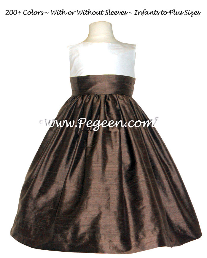 CUSTOM FLOWER GIRL DRESSES in chocolate and new ivory silk - Pegeen Classic style 398