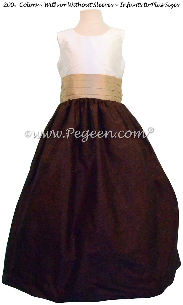 Flower Girl Dress style 398 in Chocolate, Ivory and Spun Gold | Pegeen