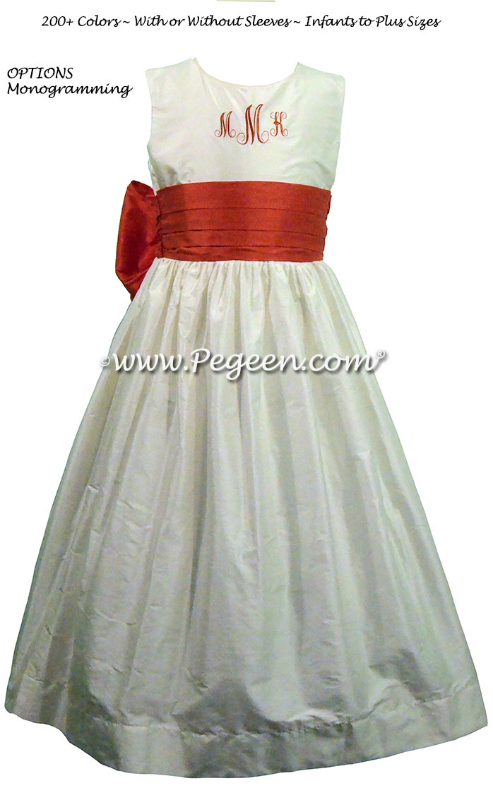 Christmas Red and New Ivory CUSTOM FLOWER GIRL DRESSES