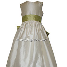 Buttercreme and Citrus Silk Flower Girl Dresses
