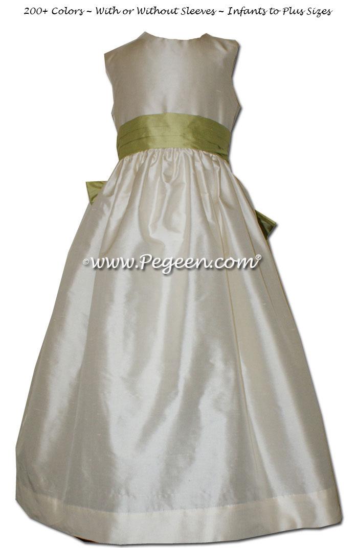 Flower girl dresses Style 398 in Buttercream and Citrus Silk  | Pegeen