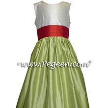 Citrus and mango silk junior bridesmaid dresses