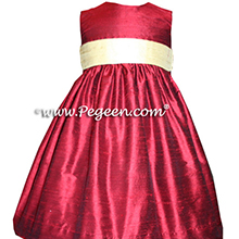 claret red and ivory flower girl dresses