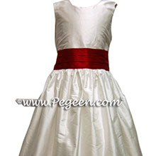 Claret Red and White Custom Silk Flower Girl Dress Style 398