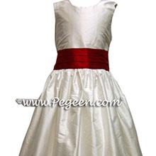 Claret Red and White Custom Silk Flower Girl Dress Style 398