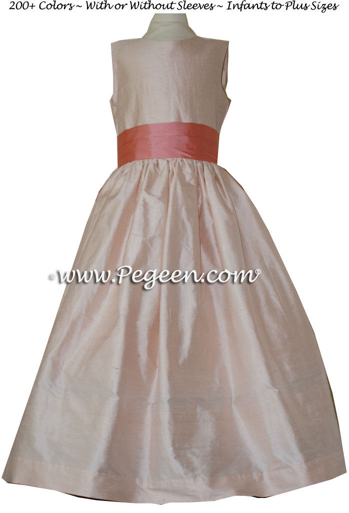 Peach and Coral Rose SILK FLOWER GIRL DRESSES