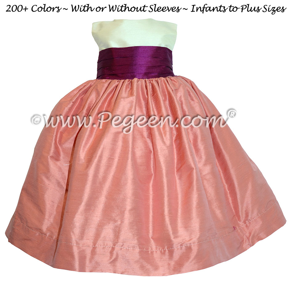 Coral Rose & Berry Silk with Back Bow FLOWER GIRL DRESSES